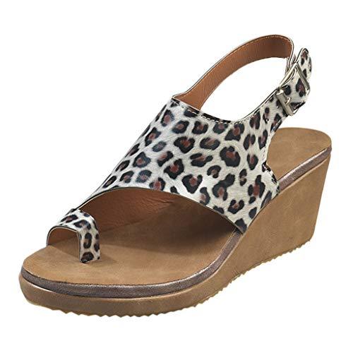 YEARNLY Damen Sandalen Keilabsatz Open Toe Atmungsaktive Strand Sandalen Rom Schnalle Strap Casual Wedges Schuhe| Frauen Plateau Knöchel Peep Toe Sommerschuhe High Heels