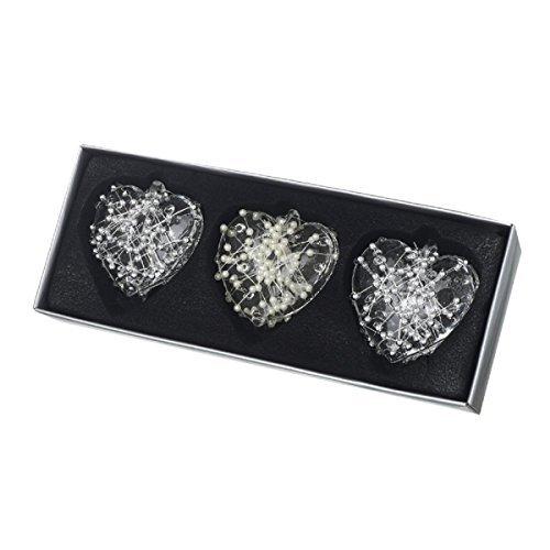 Set da 3 Vetro Da Appendere Cuori Con Trama Dettagliare - Argento Strutturato Perle