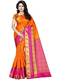 SATYAM WEAVES Women's Cotton Silk Saree(Orange-Pink ,Free Size)