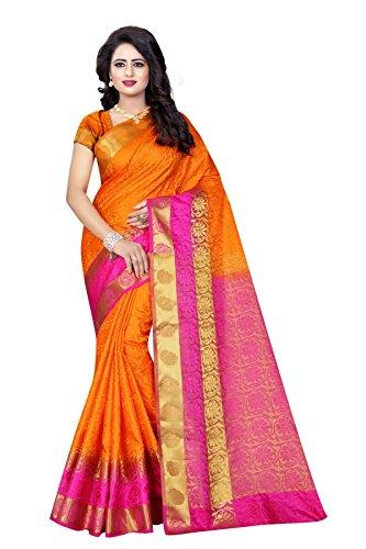 SATYAM WEAVES Women's Cotton Silk Saree(Orange-Pink ,Free Size)