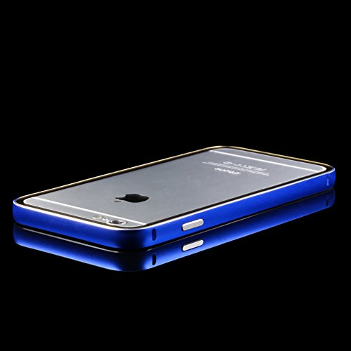 URCOVER® Custodia Bumper in Alluminio Rosso + Back Case Trasparente Apple iPhone 6 plus / 6s plus   Cover Protettiva Leggera e Ultrasottile Blu