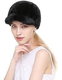 Vogueearth Mujer'Real Visón Pelaje Invierno Más Cálido Sombrero Gorra