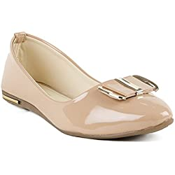 Indrataps Women's Classy Elegant and Lightweight Patent Leather Slip On Ballerinas (Light Brown, 38)
