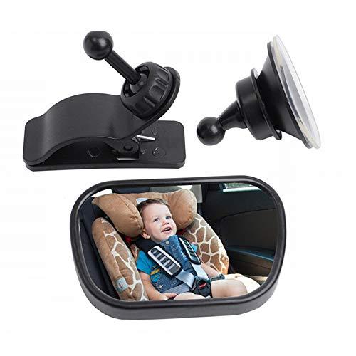 Wankd Baby Car Mirror Rear Facing,360Gradi 100{8b49b7a37201564b37750e6057cf5b1c17873c15959fe693869959e0f5852688} infrangibile retrovisore più sicuri della Sella Ampio Specchio Convesso 360Gradi Regolabile con Ventosa e Clip per Bambino Infantili