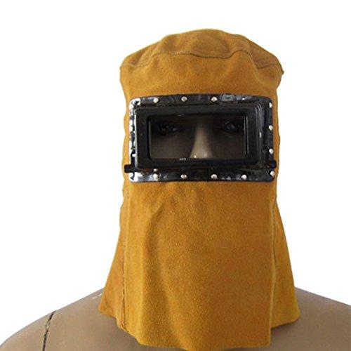 Elmetto per Saldatura elettrica, Maschera per Cappuccio in Pelle, Cappuccio per protettore per Faccia Piena da Lavoro con Scudo Frontale e Occhiali(Giallo)