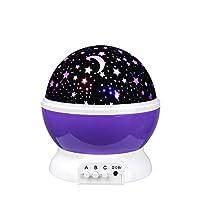Henweit Child Starry Night Light Rotating Projector Sleeping Star Sky Moon Lightning Lamps for Kids Baby Nursery Bedroom(Purple)