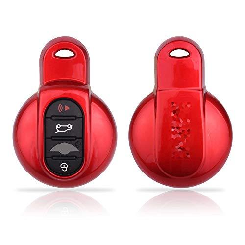 TOMALL Mini Key Cover Schutzhülle Schlüsselbund ab 2014 Mini One ab 2014 Mini Cooper ab 2014 Mini Cooper S Rot