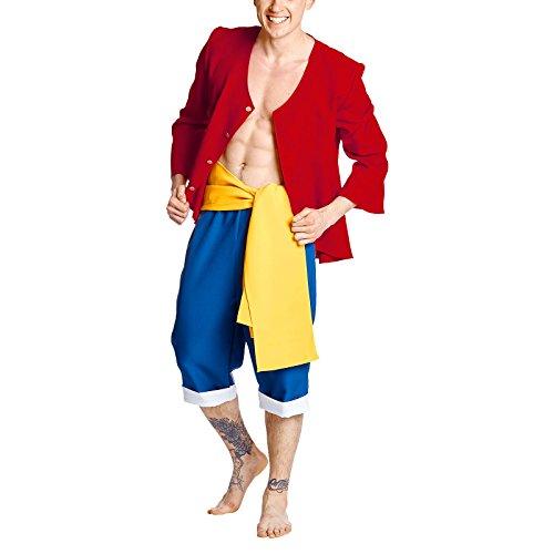 ren Kostüm für One Piece Fans 3tlg von Rot Blau Gelb - 50/52 (One Piece Kostüme)