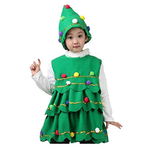 Nähen Kostüm Ein Sie Tragen (EARS - Kleinkind Kinder Baby Mädchen Niedlich Weihnachtsbaum Kostüm Kleid Ballkleid Oberteile Party Weste + Hut Outfits (7T,)