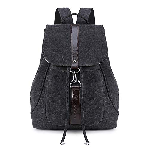 TnXan Outdoor Casual Daypack Female Canvas Backpack Anti Theft Vintage Travel Backpacks for Girls Black Jeans Bagpack Women College Back Pack for School Bags Womens Black Denim