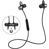 ER-ESTAVEL Bluetooth Kopfhörer 4.1 Wireless Ohrhörer Stereo IPX5 Wasserdicht Level Sportkopfhörer mit Mikrofron In-Ear Wireless Headset mit Magnet für andere Smartphone oder Bluetooth-Gerät(Schwarz)