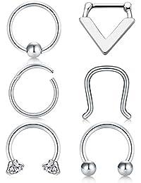 MODRSA Acero quirúrgico 316L Septum Piercing Nariz Anillo Cartilage Oreja Tragus Retainer Piercing 6 Piezas - Argent