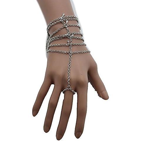 tfj Mujer Fashion Jewelry–Cadena Mano Muñeca Pulsera Esclavo anillo de metal multi Strand