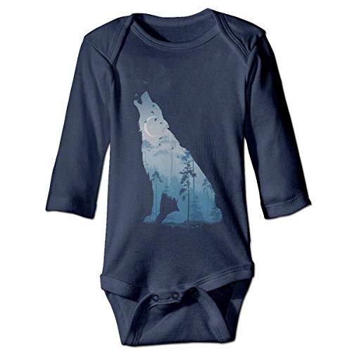 WBinHua Bodysuits Baby Body, Bertha Wolf Animal Moon Forest Baby Unisex Long Sleeve Onesies Bodysuits