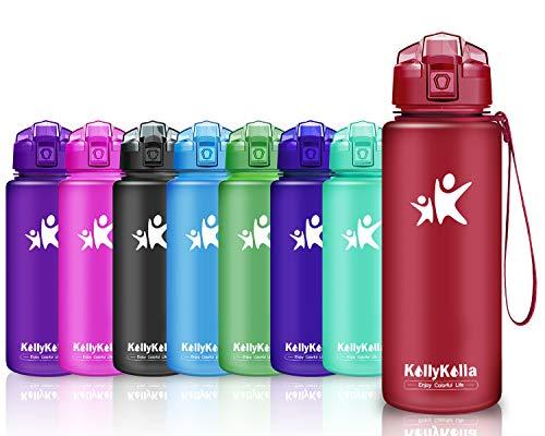 KollyKolla Trinkflasche Sport BPA-frei Auslaufsicher Wasserflasche, 500ml Tritan Sportflasche Kunststoff mit Filter für Kinder, Schule, Mädchen, Wasser, Fahrrad, Gym, Yoga, Matte Dunkelrot-3