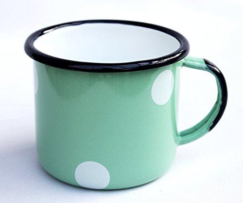 Tasse 501/8 Becher emailliert 8cm Kaffeebecher Emaille Kaffeetasse Teetasse (Hellgrün mit weißen Punkten)
