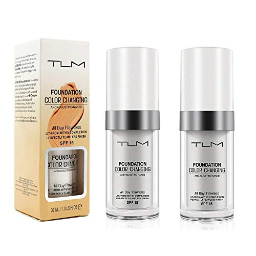 2 PCS TLM Flawless Farbwechsel Warm Skin Tone Foundation, Make-up Basis Nude Face Liquid Cover Concealer (2 Pack Foundation)