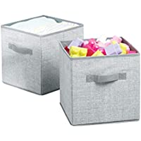 Preisvergleich für mDesign 2er-Set Aufbewahrungsbox für Spielzeug – quadratische Stoffkiste für Kinderzimmer oder Schlafzimmer – Spielzeugkiste mit Griffen aus atmungsaktivem Polypropylen – grau