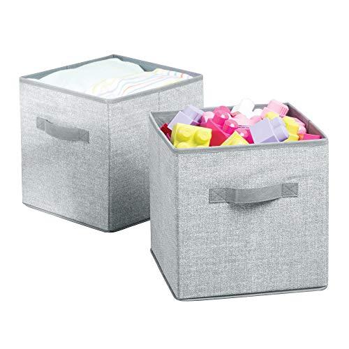 mDesign 2er-Set Aufbewahrungsbox für Spielzeug – quadratische Stoffkiste -