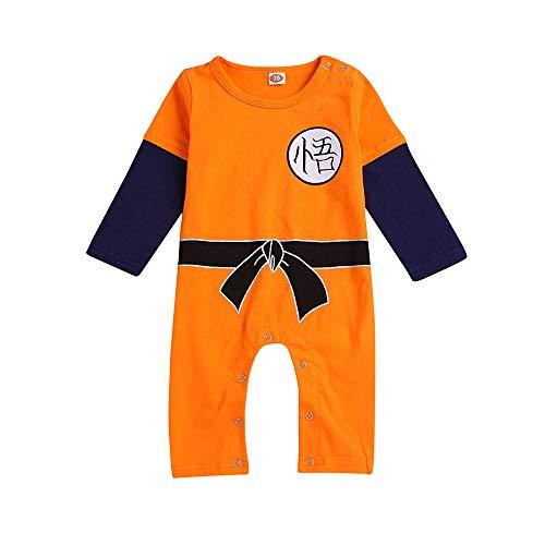 Lazzboy Kostüm Neugeborenes Baby Jungen Mädchen Langarm Cartoon Spielanzug Overall Kleidung(Höhe 100,Orange)