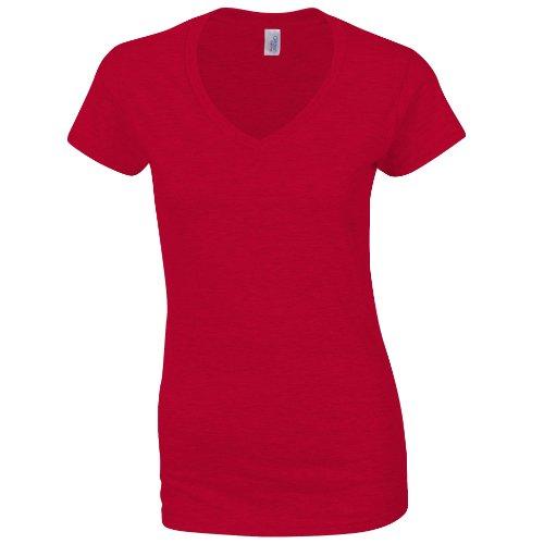Gildan Damen Kurzarm T-Shirt mit V-Ausschnitt (M) (Rot) M,Rot (Weiches Super T-shirt Rot)