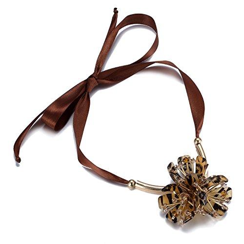 schenk Kaffee Acryl Steine große Blume Leopard gedruckt Frauen Anweisung Halskette Mode Seide lange Pullover Kette Schmuck Schönheit Valentine Geschenk,Weihnachten Geschenk (Seide Blume Halskette)