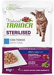 Natural Trainer Sterilised - Cibo Umido per Gatti Adulti Sterilizzati con Tonno e Fibra di Pisello - 12 Buste