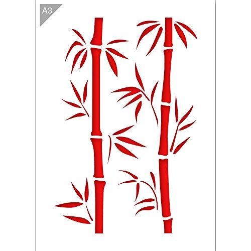 Bambus Zweige Schablone - Plastik - A3 42 x 29,7cm - Bambushöhe 36cm - wiederverwendbare kinderfreundliche Schablone für Malerei, Handwerk, Wände und Möbel (Bambus-zweige)