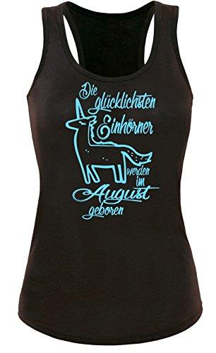 Die Glücklichsten Einhörner werden im August geboren! Perfektes Geschenk zum Geburtstag - Damen Tanktop Schwarz/Hellblau