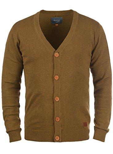 BLEND Lennard Herren Cardigan Strickjacke aus hochwertiger Baumwoll-Mischung, Größe:3XL, Farbe:Dark Mustard (75116) (Feiner Baumwoll-mischung)