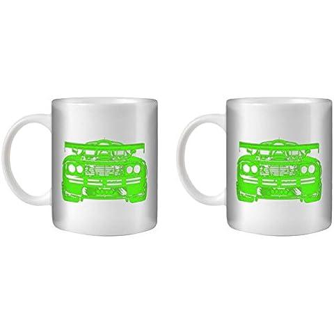 STUFF4 Taza de Café/Té 350ml/2 Pack Verde/F1 GTR/Cerámica Blanca/ST10