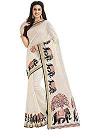22a33fdc2d7b1 Indira Designer Art Silk Saree with Blouse Piece (ANIMAL-ELEPHANT Off  White Free Size)