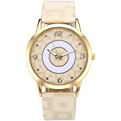 JSDDE Fahsion Gold Case Arabic Numerals Lattice Dial Beige PU Leather Band Quartz Watch