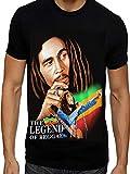 Maglietta Bob Marley con cantante giamaicano Songwriter Reggae Music Legend Design B M