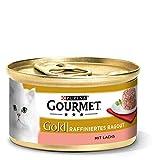 Purina GOURMET Gold Raffiniertes Ragout, köstliches Katzennassfutter, fein geschnetzelte Stückchen, Katzenfutter nass, 12er Pack (12 x 85 g Dose)