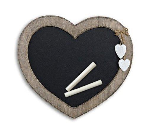 Memotafel in Herzform zur Kreide Beschriftung aus Holz braun schwarz 30cm x 27cm, Küchentafel Kreidetafel Memoboard Herz Herzchen Landhaus