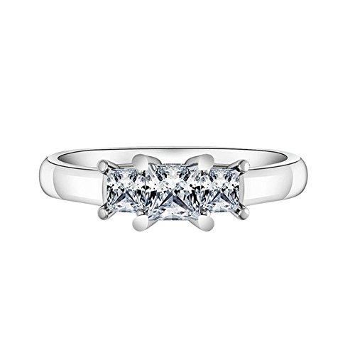 Bishilin 925 Sterling Silber Ring 4-Steg-Krappenfassung Weiß Zirkonia Prinzess Trauring Verlobungsring Silber Größe 52 (16.6)