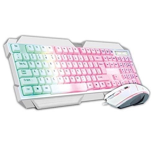 Von hinten beleuchtete Gaming-Tastatur und Maus Tastatur mit Kabel verdrahtet Maus USB-Buchse eingestellt , white (Drahtlose Von Hinten Beleuchtete Tastatur Maus)