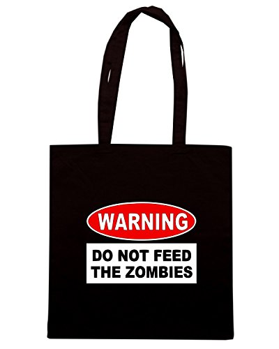 T-Shirtshock - Borsa Shopping TZOM0049 warning do not feed the zombies Nero