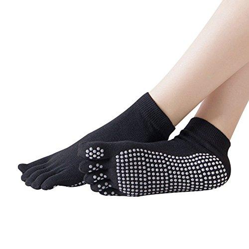 Ouvin - 3paia di calzini antiscivolo con dita colorate per danza, yoga, pilates, sbarra, donna, p-black, taglia unica