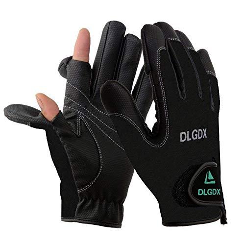 HETTO Angeln Handschuhe mit 2/3 freien Fingern Rutschfest aus Neopren Angler Handschuhe