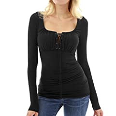 Idea Regalo - CICIYONER Maglietta a Maniche Lunghe Slim Fit Aderente a Maniche Lunghe con Scollo Quadrato a Maniche Lunghe Donna