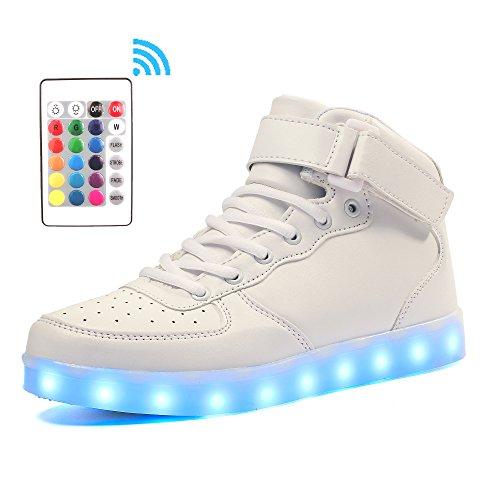 Voovix Kinder High-Top LED Licht Blinkt Sneaker mit Fernbedienung-USB Aufladen LED Schuhe für Jungen und Mädchen (Weiß, EU34/CN34)