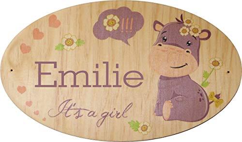 Décoration de Porte en bois pour une Chambre d'enfant - Le prénom de la plaque en bois est personnalisable - cadeau de naissance personnalisé - déco enfant & bébé (Pq Porte 2)