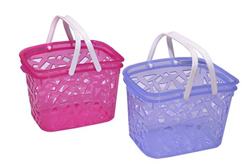Two cute small plastic storage baskets,with the handles small Storage basket