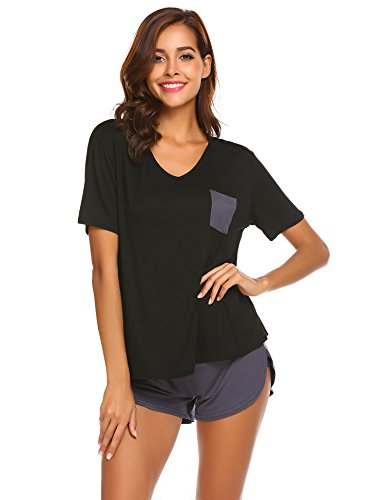 Damen Schlafanzug Pyjama Shorty mit Shorts & Shirt Nachtwäsche Kurzarm Sleepwear