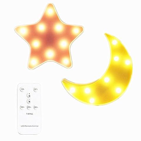 IACON Star Light Dekorative mit Fernbedienungsschalter Light Star LED Dekorative Licht Nachtlicht Effektlampe Wandlampe Kinder Wandstahler Zeichen für Baby Kinderzimmer Schlafzimmer Décor Light Sign Geschenke Sterne Mond
