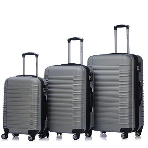 Zwillingsrollen 2088 Reisekoffer Koffer Trolleys Kofferset Reisekofferset Hartschale in 14 Farben(Silber)