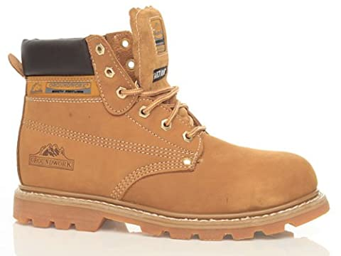 New Mens Groundwork Lace Up Steel Toe Safety Ankle Boots Size UK 7 8 9 10 11, Honey UK Size 10