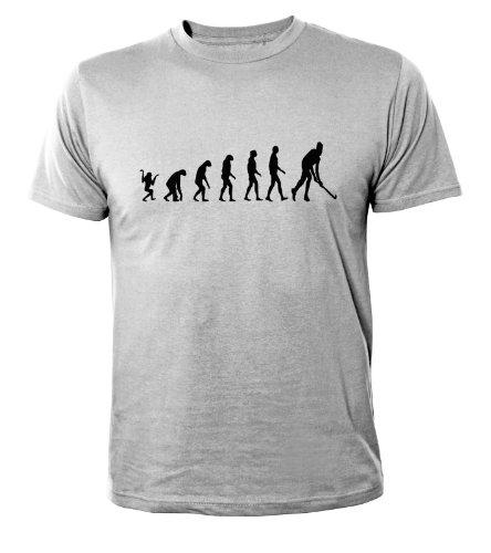 Mister Merchandise Cooles Herren T-Shirt Hockey Evolution Feldhockey Fieldhockey, Größe: XL, Farbe: Grau